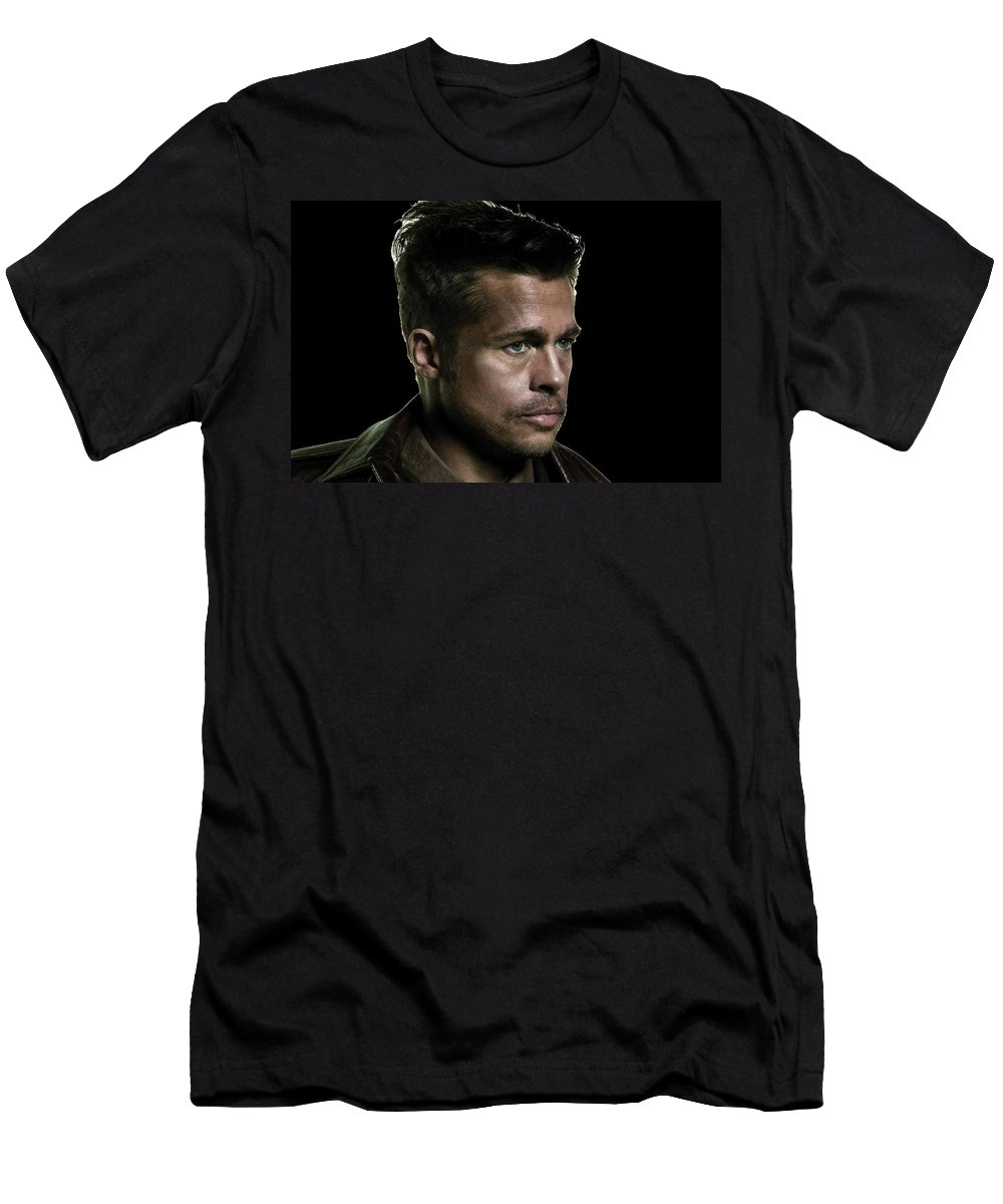 Brad Pitt As Lt Aldo Paine Publicity Photo The Inglourious Bastards 2009 Color Added 2016 Men's T-Shirt (Athletic Fit) featuring the photograph Brad Pitt As Lt Aldo Paine Publicity Photo The Inglourious Bastards 2009 Color Added 2016 by David Lee Guss