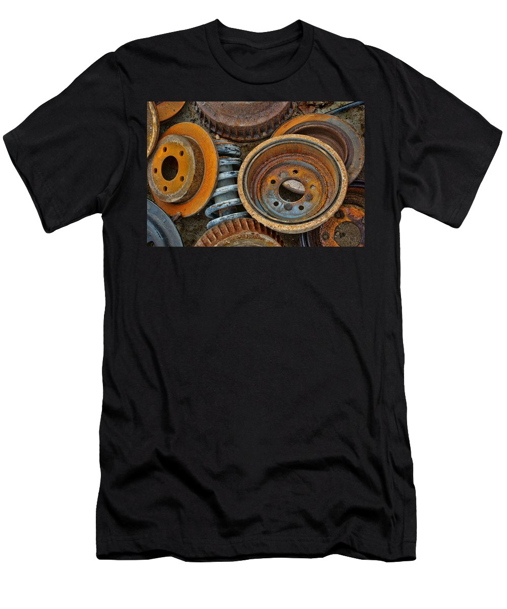 Automotive Men's T-Shirt (Athletic Fit) featuring the photograph Brake Drums - Disc Brakes - Shock Assembly by Nikolyn McDonald