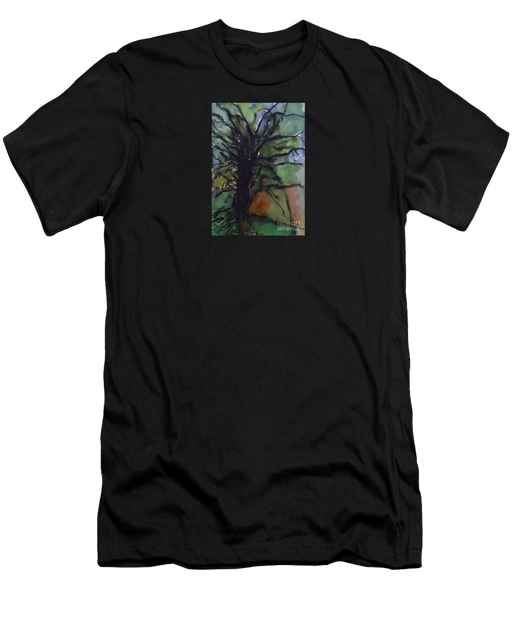 Tree Landscape Abstract Watercolor Original Blue Green Men's T-Shirt (Athletic Fit) featuring the painting Branching by Leila Atkinson
