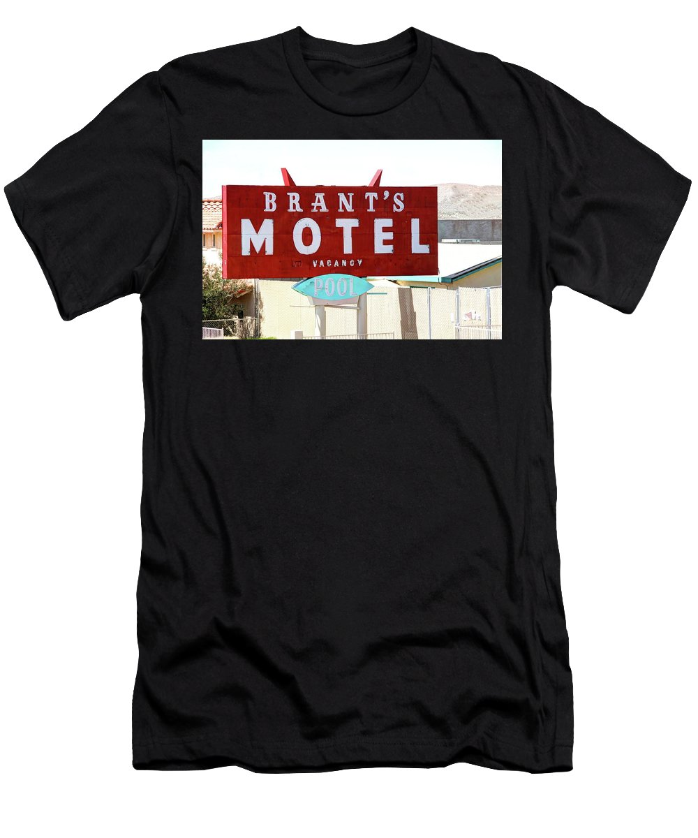 Sign Men's T-Shirt (Athletic Fit) featuring the photograph Brants Motel Sign Barstow by Douglas Settle