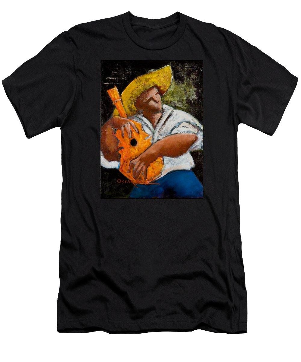 Puerto Rico Men's T-Shirt (Slim Fit) featuring the painting Bravado Alla Prima by Oscar Ortiz
