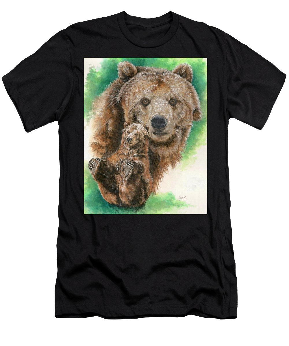 Bear Men's T-Shirt (Athletic Fit) featuring the mixed media Brawny by Barbara Keith