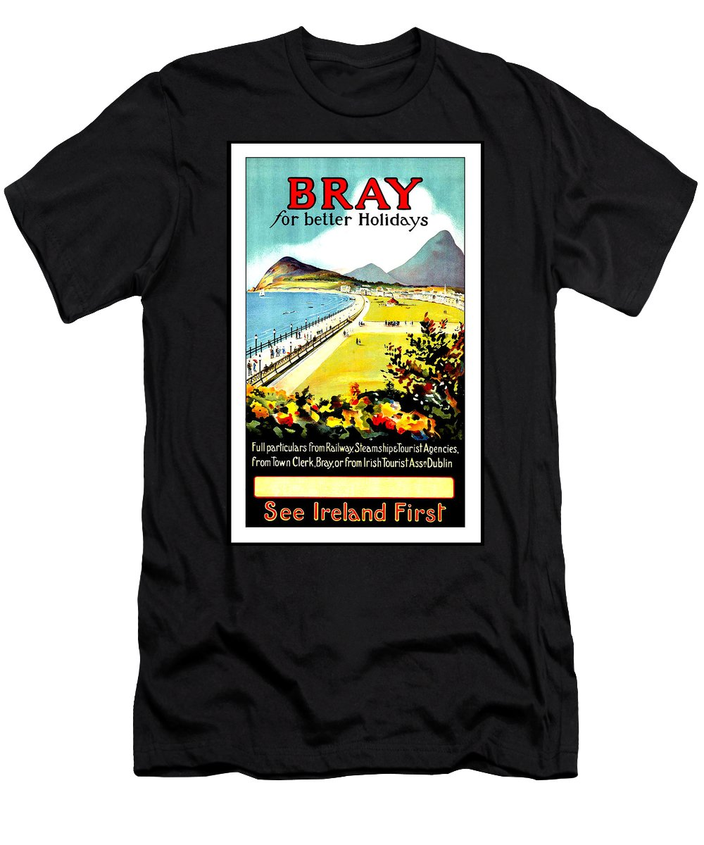 Bray Men's T-Shirt (Athletic Fit) featuring the painting Bray, Ireland, Coast, Scenery by Long Shot