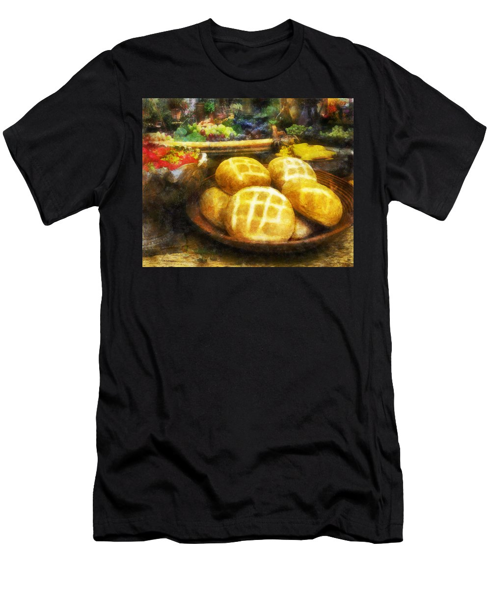 Bread; Loaf; Loaves; Food; Fruit; Still-life; Grapes Men's T-Shirt (Athletic Fit) featuring the digital art Bread Table by Francesa Miller