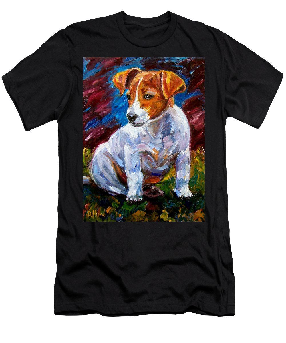 Dog Art Men's T-Shirt (Athletic Fit) featuring the painting Break Time by Debra Hurd