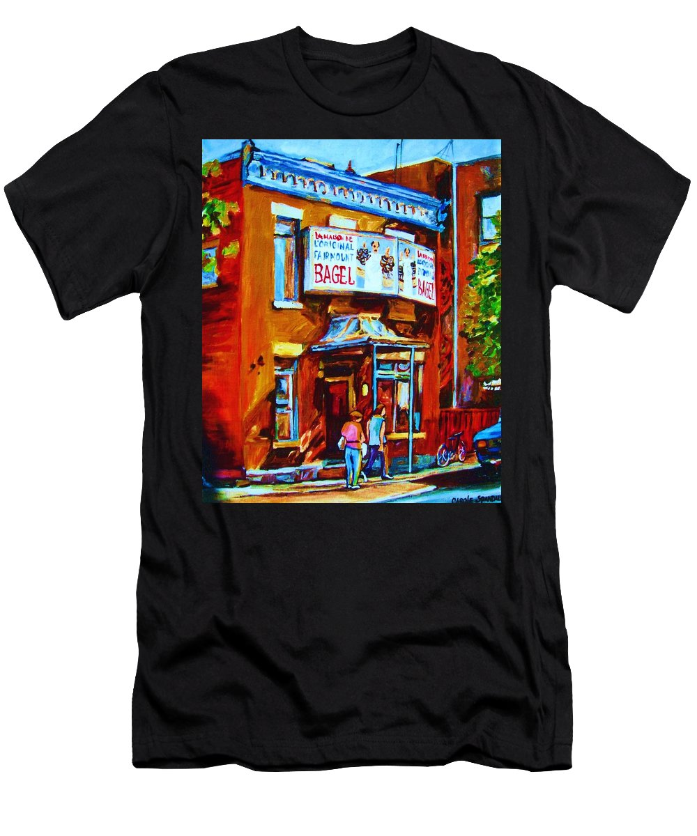 Fairmount Bagel Men's T-Shirt (Athletic Fit) featuring the painting Breakfast At The Bagel Cafe by Carole Spandau
