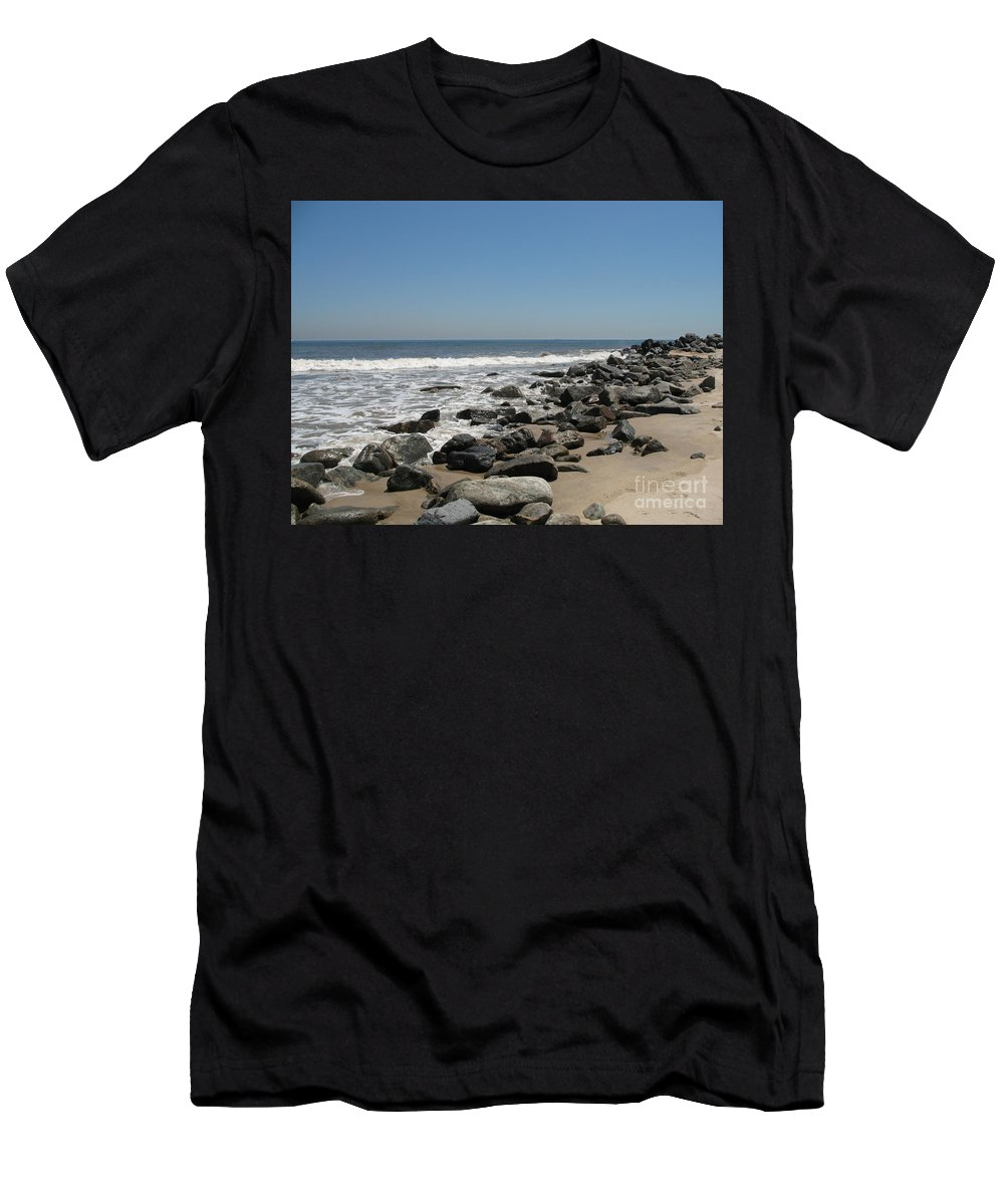 Beach Men's T-Shirt (Athletic Fit) featuring the photograph Breakwaters by Christiane Schulze Art And Photography