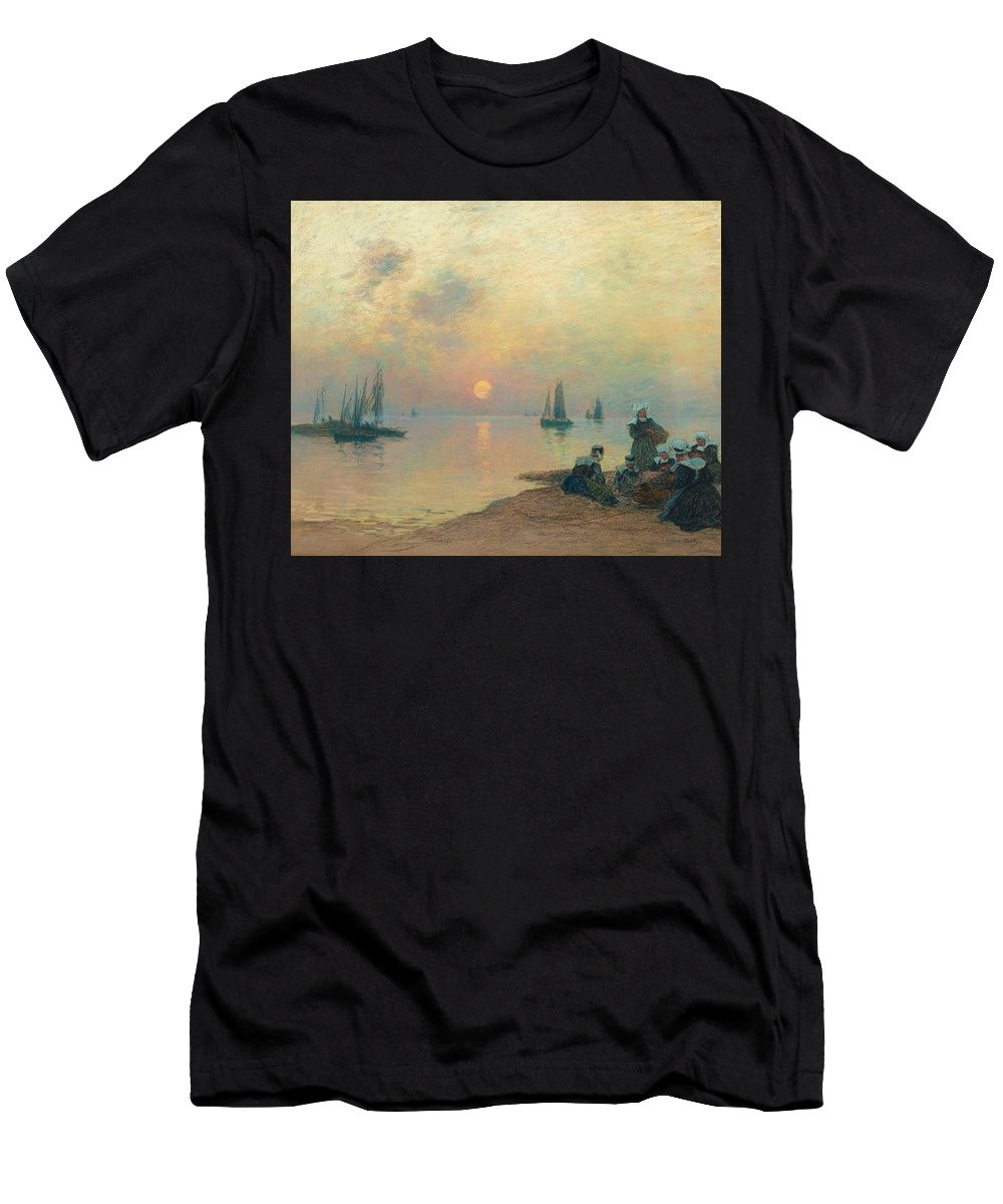Fernand Legout-g�rard Men's T-Shirt (Athletic Fit) featuring the painting Breton Coastal Landscape At Sunset by MotionAge Designs