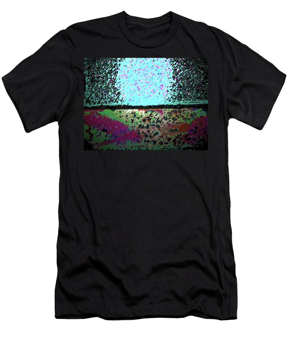Abstract Men's T-Shirt (Athletic Fit) featuring the digital art Brick And Cement Landscape by Lenore Senior