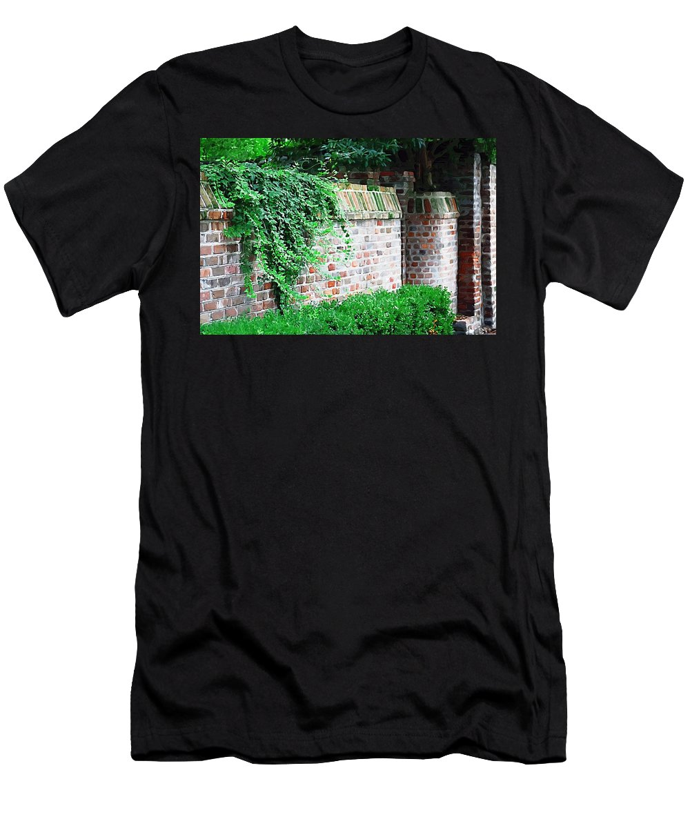 Wall Men's T-Shirt (Athletic Fit) featuring the photograph Brick Wall by Donna Bentley
