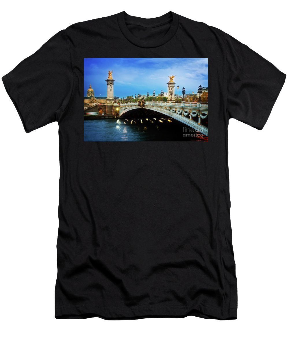 Alexander Men's T-Shirt (Athletic Fit) featuring the photograph Bridge Of Alexandre IIi At Night by Anastasy Yarmolovich