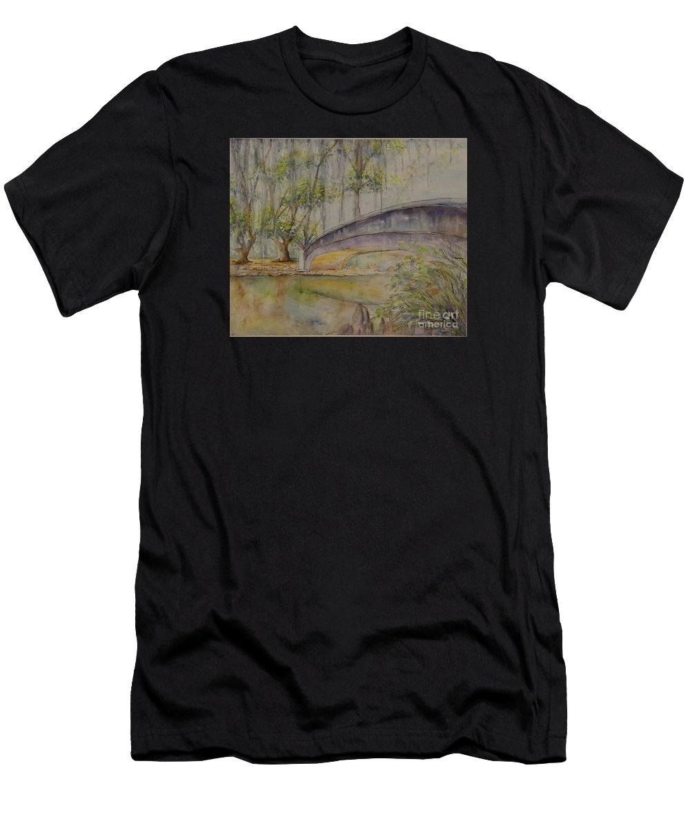 Bridge Men's T-Shirt (Athletic Fit) featuring the painting Bridge Over A Bayou by Catherine Wilson