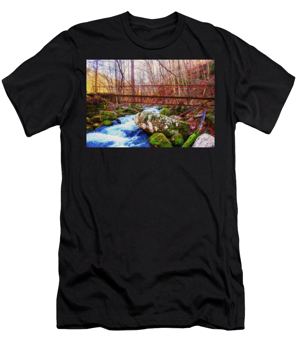Virginia Men's T-Shirt (Athletic Fit) featuring the photograph Bridge Over Mill Creek by Anthony Zeljeznjak
