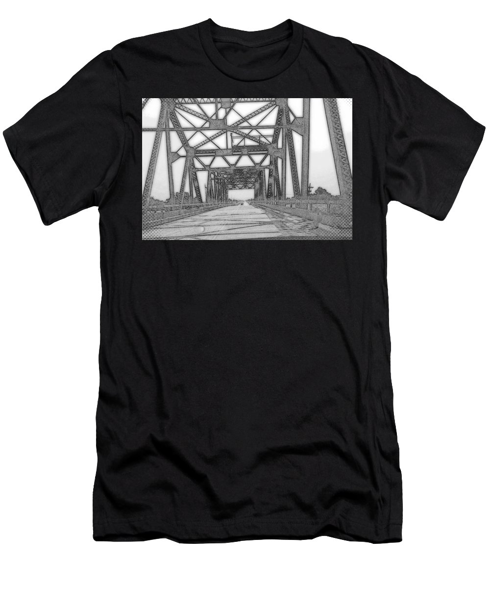 16.00x10.75 Men's T-Shirt (Athletic Fit) featuring the photograph Bridge Over Mississippi by Lesli Sherwin