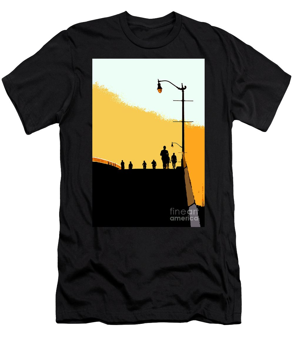 Bridge Men's T-Shirt (Athletic Fit) featuring the photograph Bridge People by David Lee Thompson