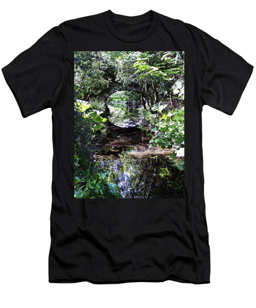 Irish Men's T-Shirt (Athletic Fit) featuring the photograph Bridge Reflection At Blarney Caste Ireland by Teresa Mucha