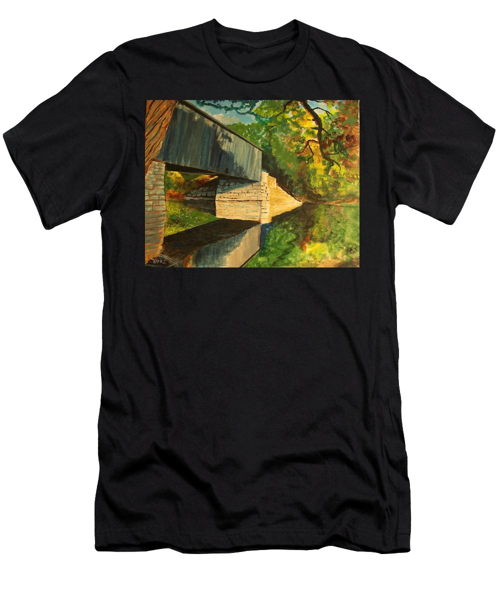 Covered Bridge Men's T-Shirt (Athletic Fit) featuring the painting Bridge To Windham, Maine by William Tremble