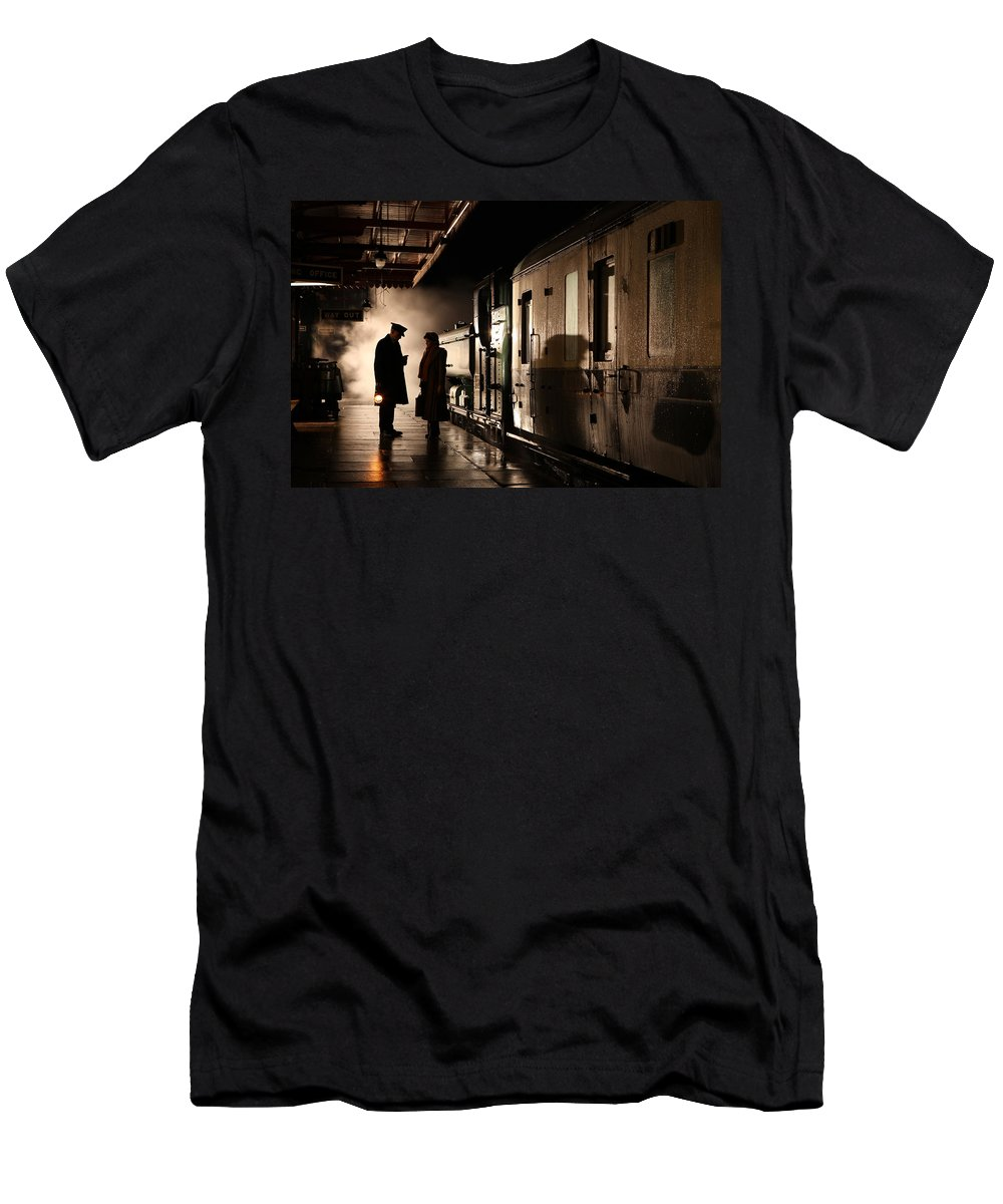 Steam Men's T-Shirt (Athletic Fit) featuring the photograph Brief Encounter by Robert Sherwood