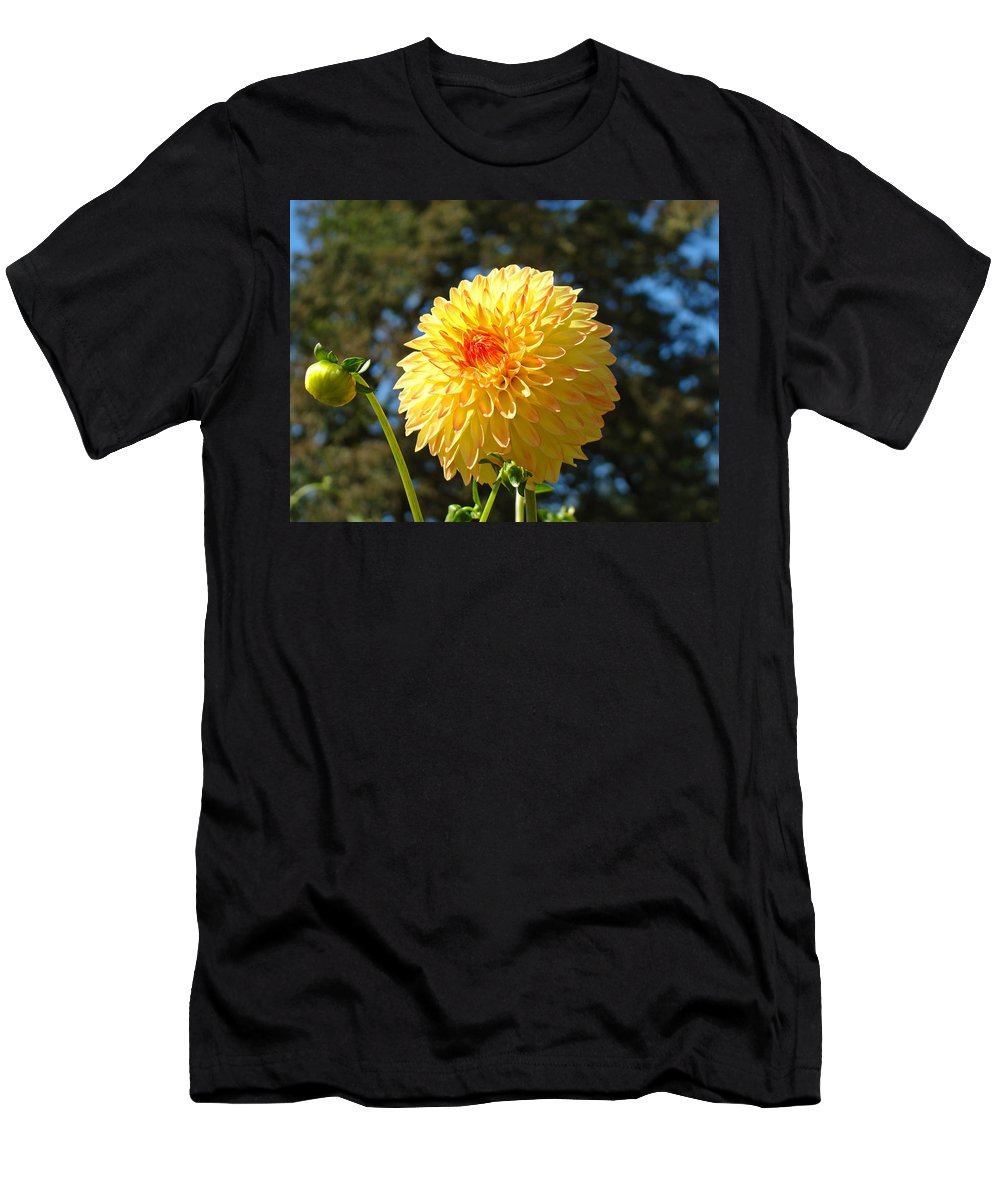 Flowers Men's T-Shirt (Athletic Fit) featuring the photograph Bright Colorful Dahlia Flower Art Prints Baslee Troutman by Baslee Troutman