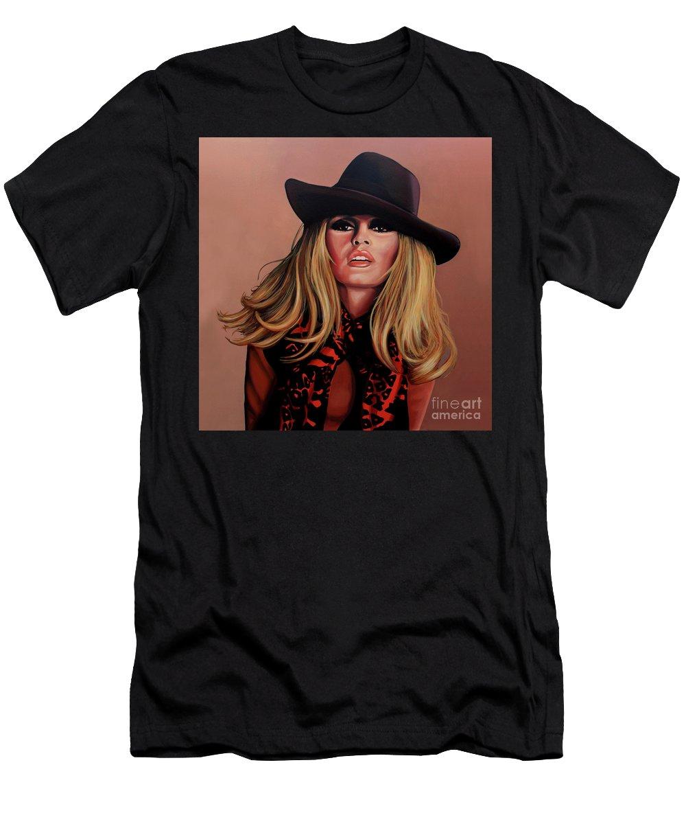 Brigitte Bardot T-Shirt featuring the painting Brigitte Bardot Painting 1 by Paul Meijering