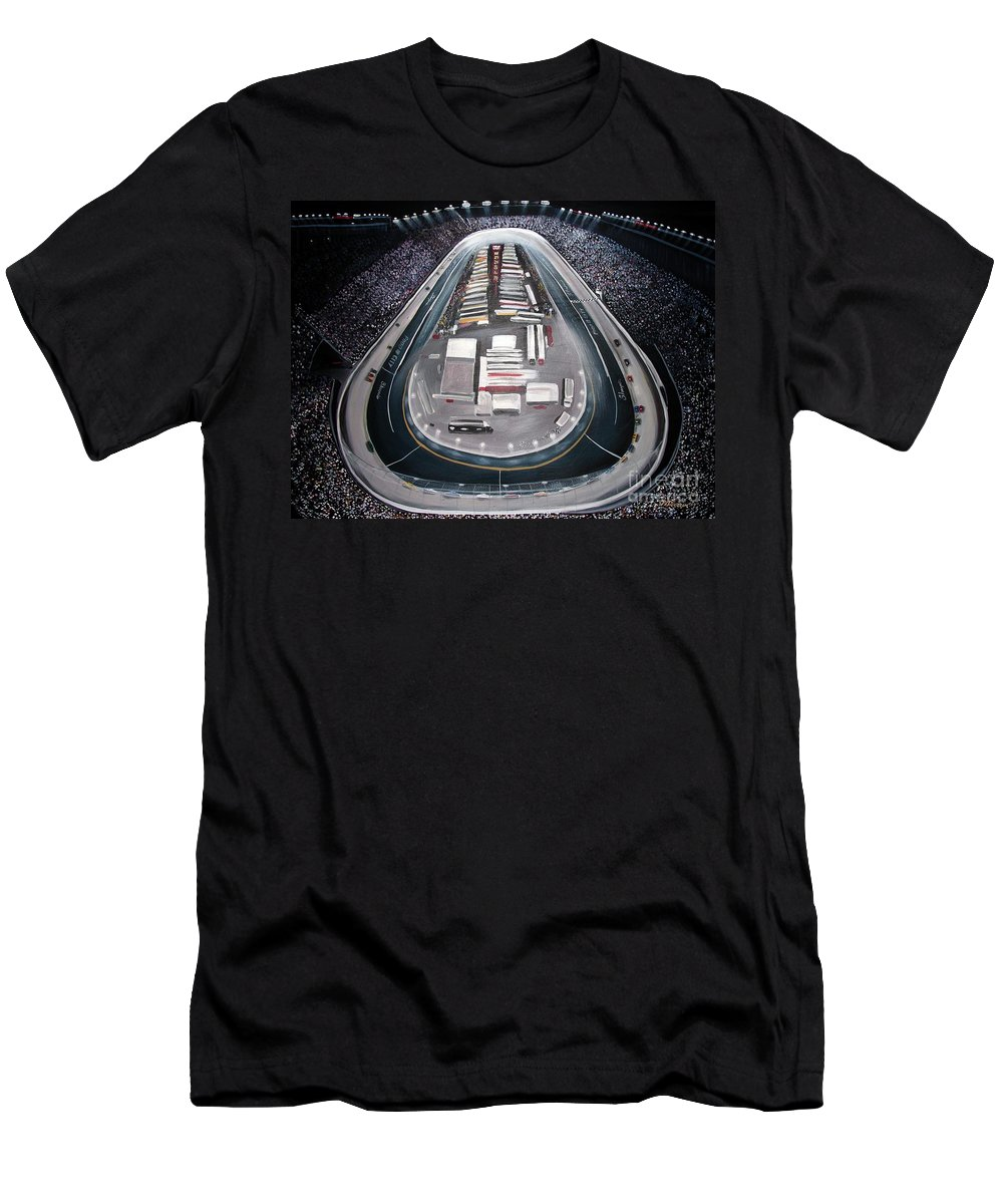 Racing Men's T-Shirt (Athletic Fit) featuring the painting Bristol Motor Speedway Racing The Way It Ought To Be by Patricia L Davidson