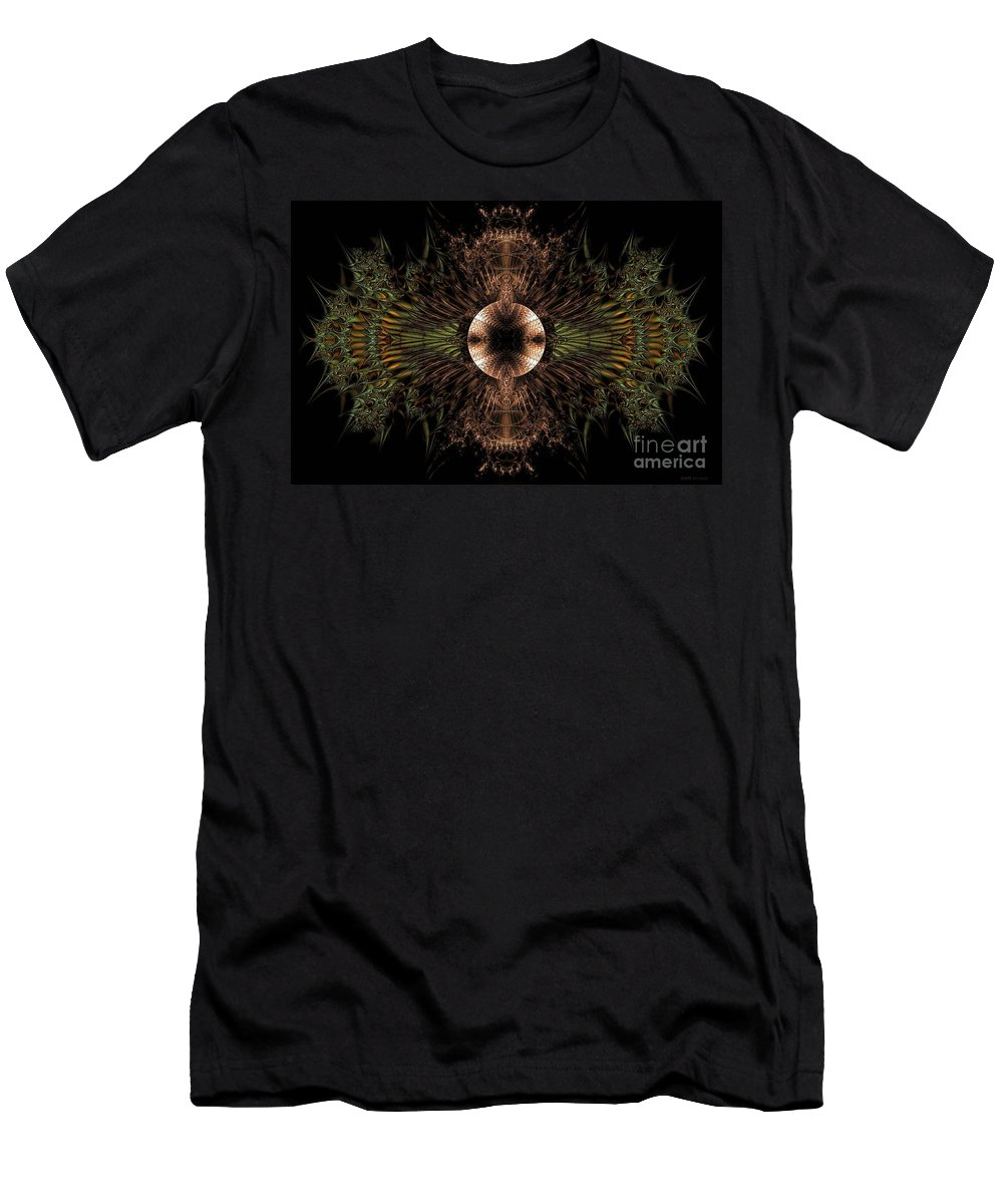Broach Of Dried Leaves / Warm Men's T-Shirt (Athletic Fit) featuring the digital art Broach Of Dried Leaves / Warm by Elizabeth McTaggart