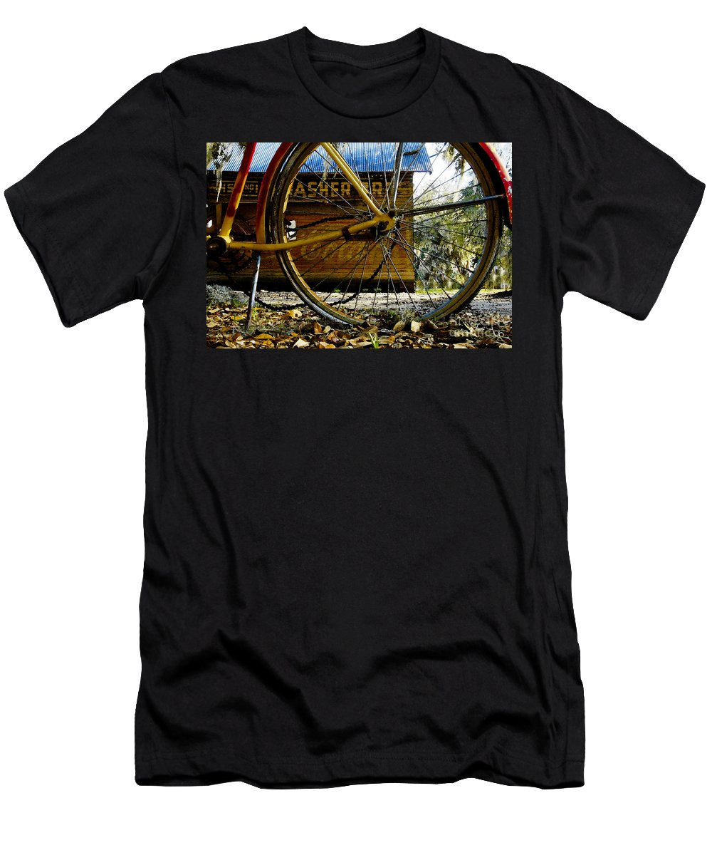 Micanopy Florida Men's T-Shirt (Athletic Fit) featuring the painting Broken Bicycle by David Lee Thompson