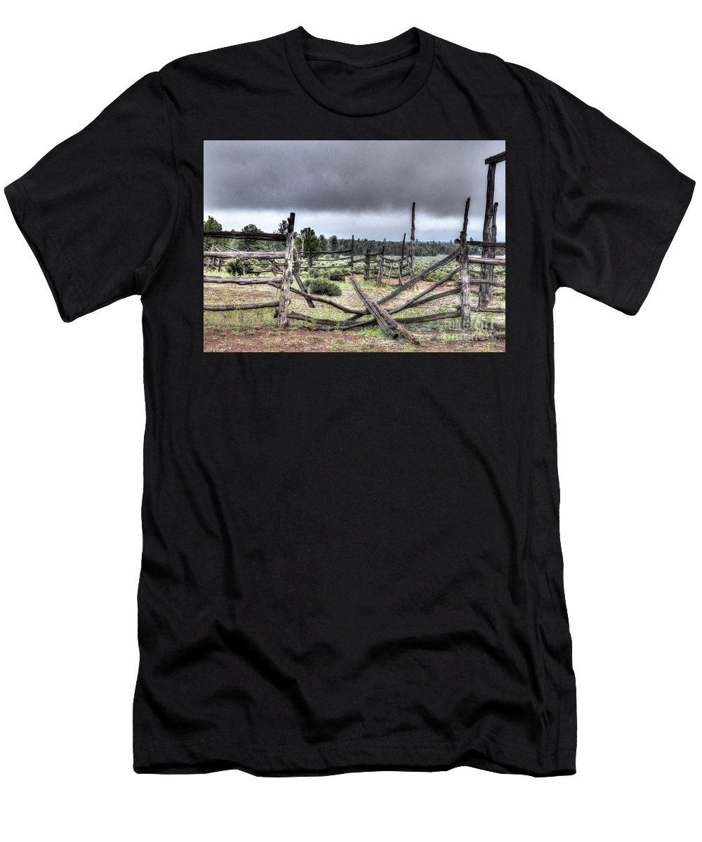 Outdoors Nature Grey Brown Green Clouds Mountains Country Broken Dream Fence Trees Bushes Weeds Critters Ranch Livestock Grand Canyon South Rim Abandoned Property Hard Times Grand Canyon Airways Hdr . Men's T-Shirt (Athletic Fit) featuring the photograph Broken Dream by Thomas Todd