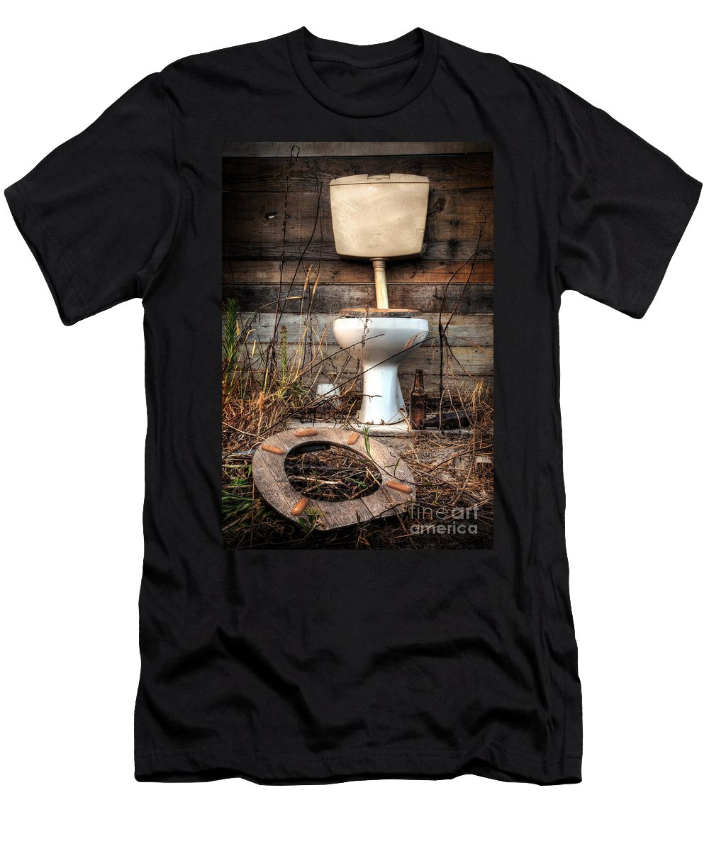 Abandoned Men's T-Shirt (Athletic Fit) featuring the photograph Broken Toilet by Carlos Caetano