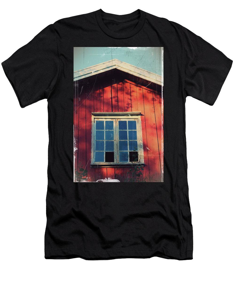 Broken Window Men's T-Shirt (Athletic Fit) featuring the photograph Broken Window by Ann Lundell