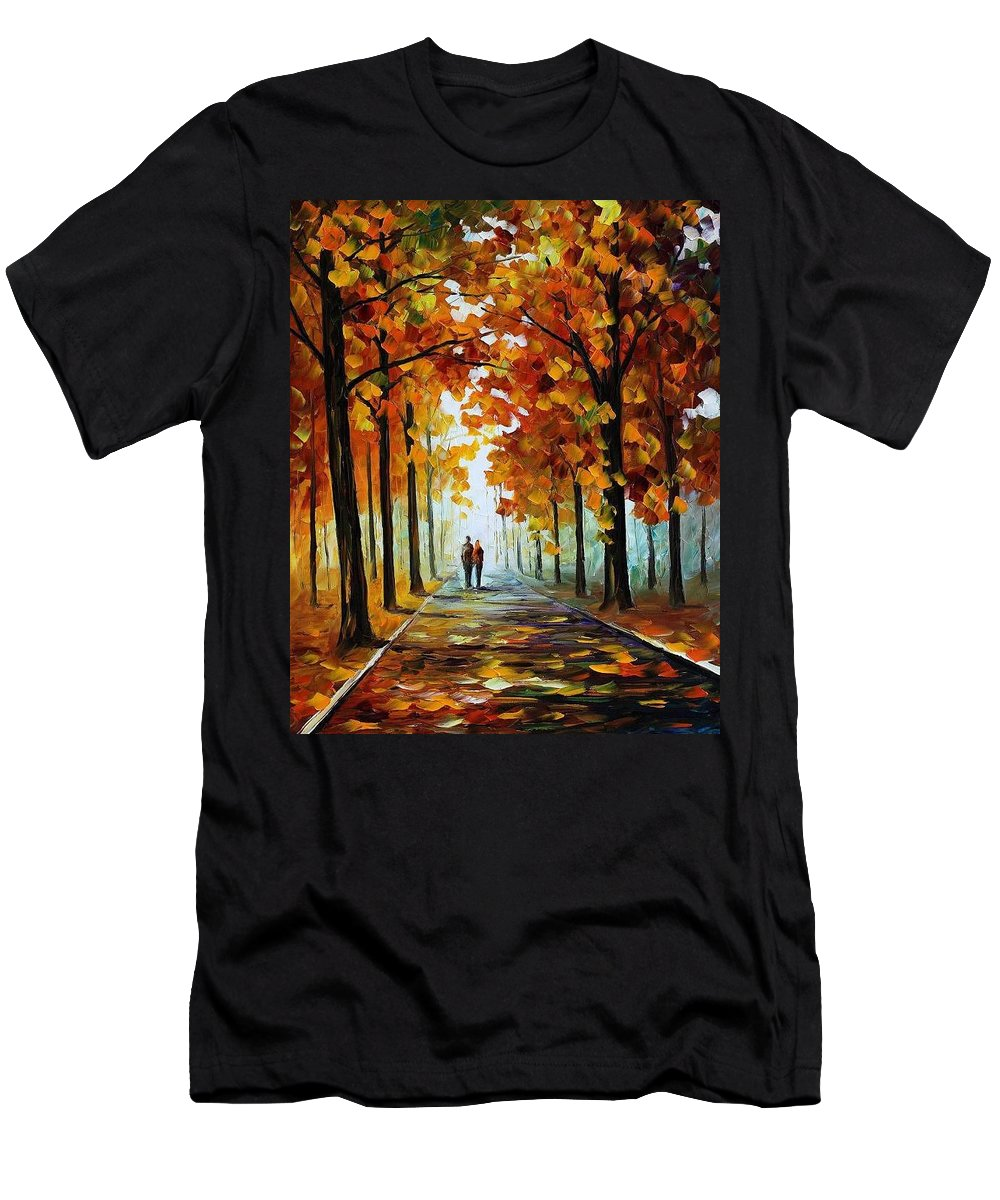 Afremov Men's T-Shirt (Athletic Fit) featuring the painting Bronze Fall by Leonid Afremov