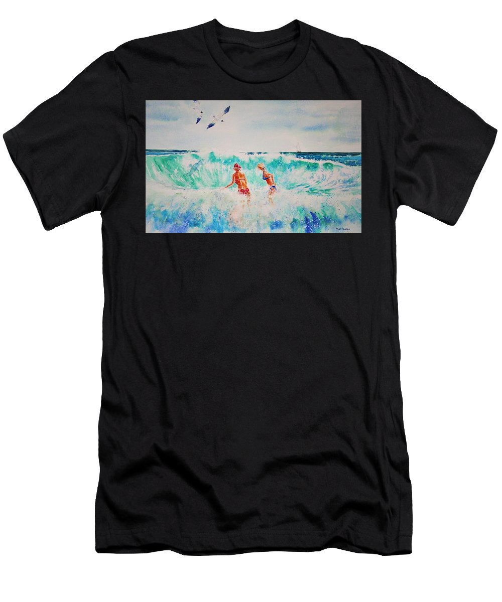 Surf Men's T-Shirt (Athletic Fit) featuring the painting Brooke And Carey In The Shore Break by Tom Harris