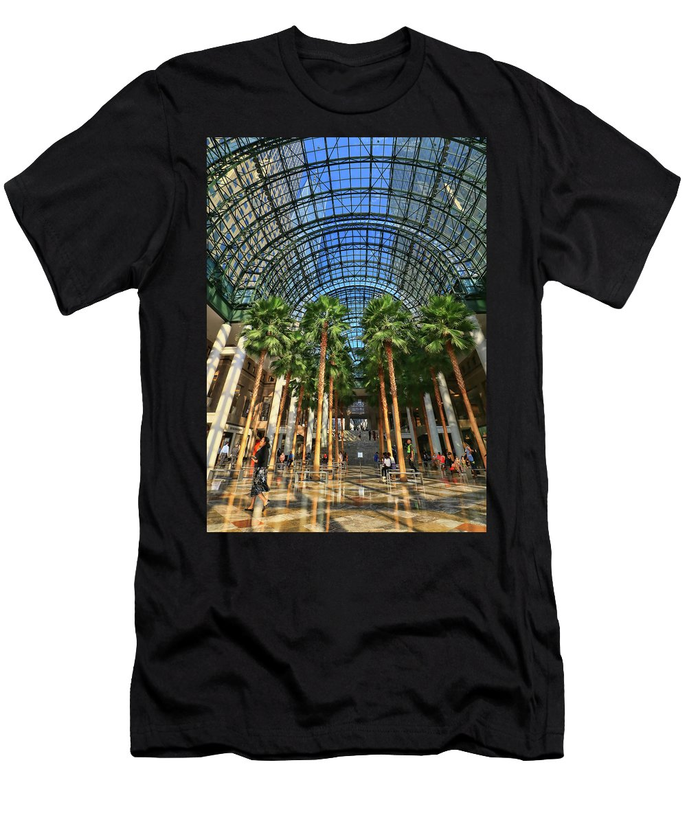 Atrium T-Shirt featuring the photograph Brookfield Place Atrium - N Y C # 2 by Allen Beatty