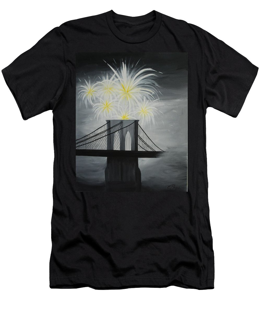 Brooklyn Bridge Men's T-Shirt (Athletic Fit) featuring the painting Brooklyn Bridge Fireworks by Emily Page