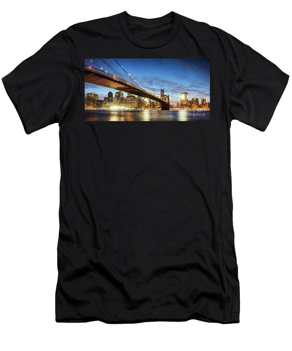 Architecture Men's T-Shirt (Athletic Fit) featuring the photograph Brooklyn Bridge Panoramic At Night, New York, Usa by Matteo Colombo