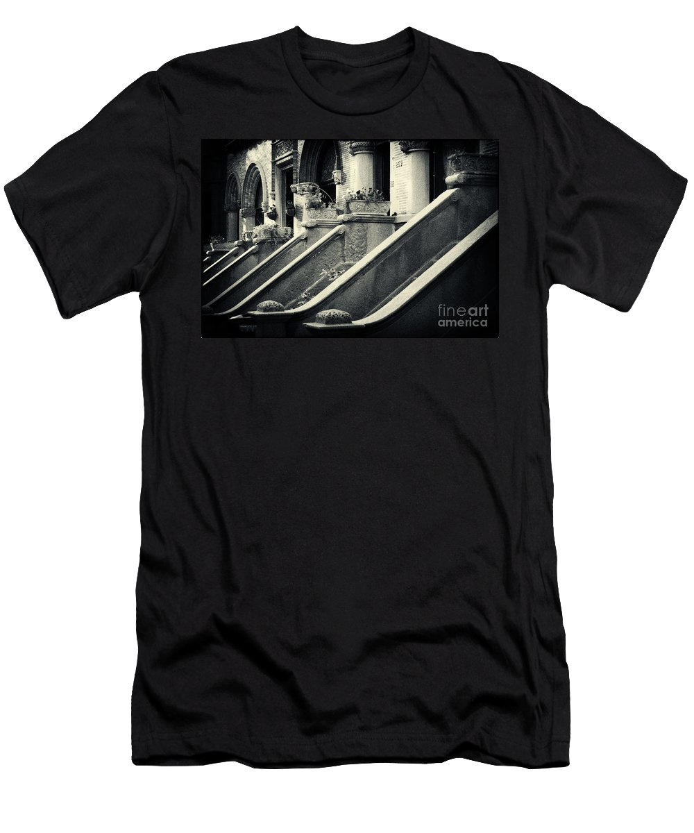 Filmnoir Men's T-Shirt (Athletic Fit) featuring the photograph Brooklyn Park Slope Stoops by Sabine Jacobs