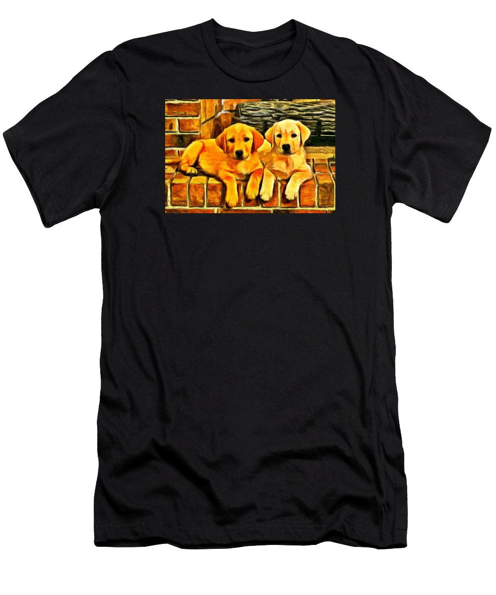 Bricks Men's T-Shirt (Athletic Fit) featuring the painting Brothers by Leonardo Digenio