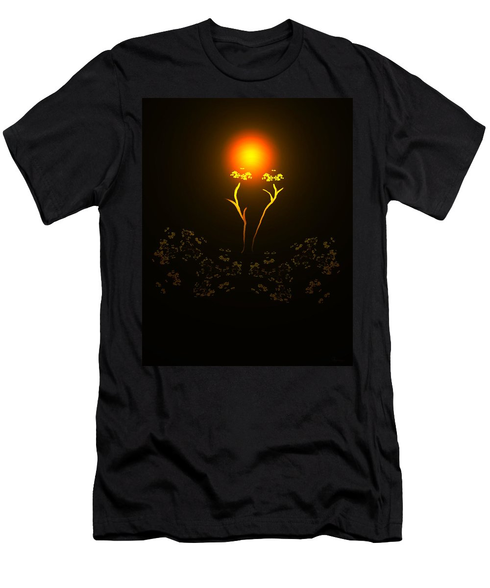 Abstract Digital Art Colorful Print Original Saskatchewan Artist Gold Yellow Brown Orange Collectors Gallery Images Flowers Plants Life Men's T-Shirt (Athletic Fit) featuring the digital art Brown Eyed Susan by Andrea Lawrence