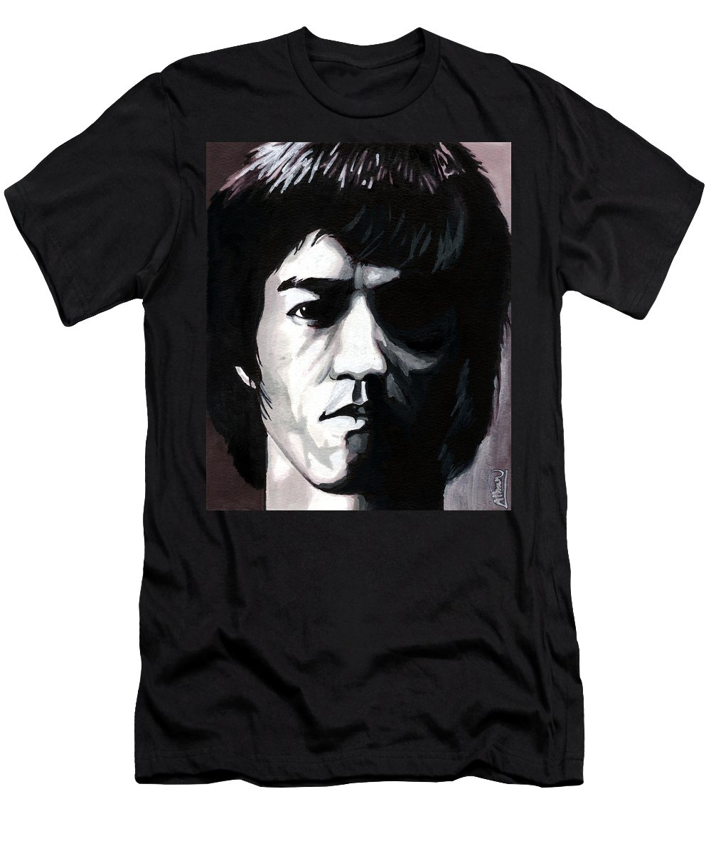 Bruce Lee Men's T-Shirt (Athletic Fit) featuring the mixed media Bruce Lee Portrait by Alban Dizdari