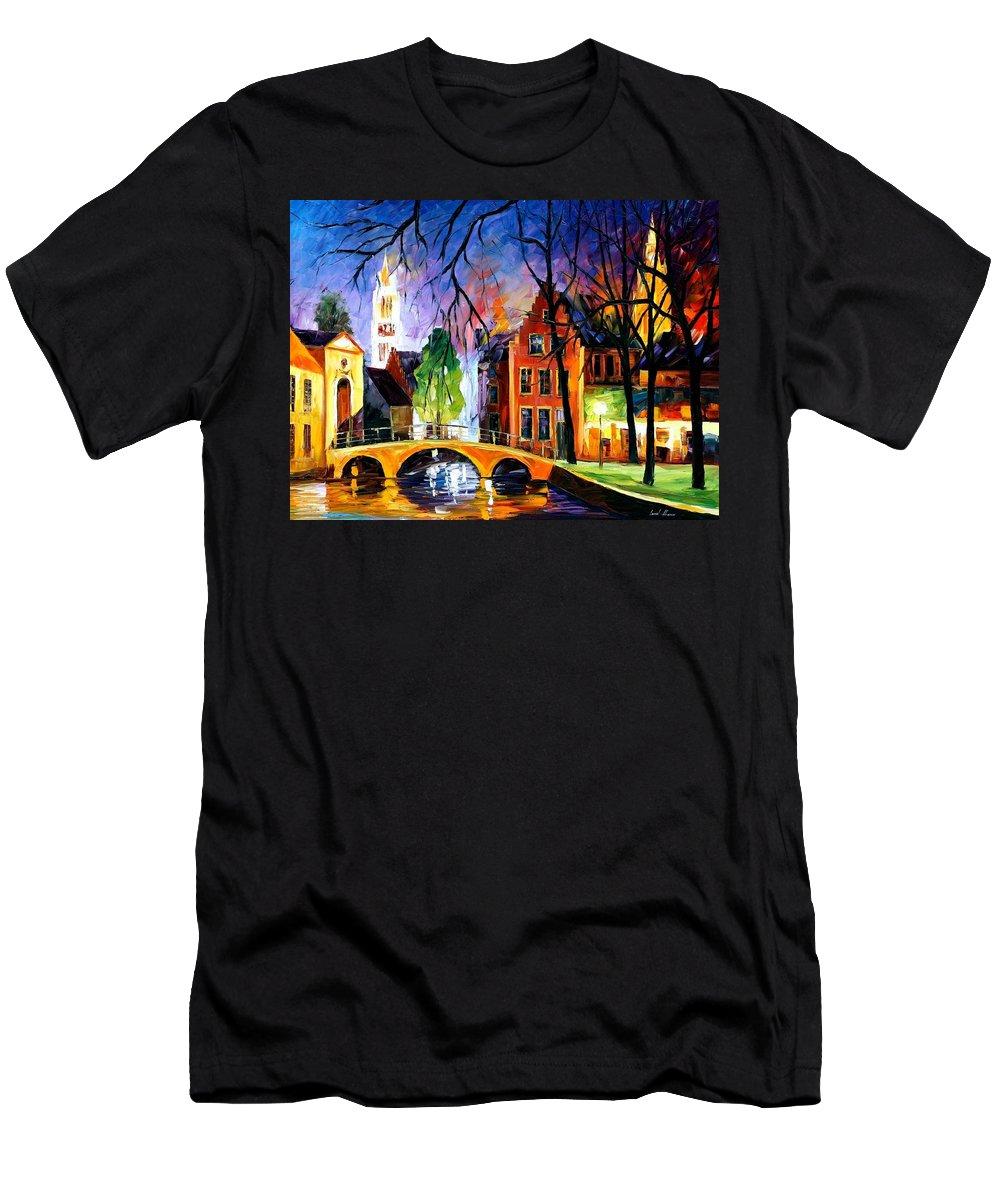 Afremov Men's T-Shirt (Athletic Fit) featuring the painting Bruges Belgium by Leonid Afremov