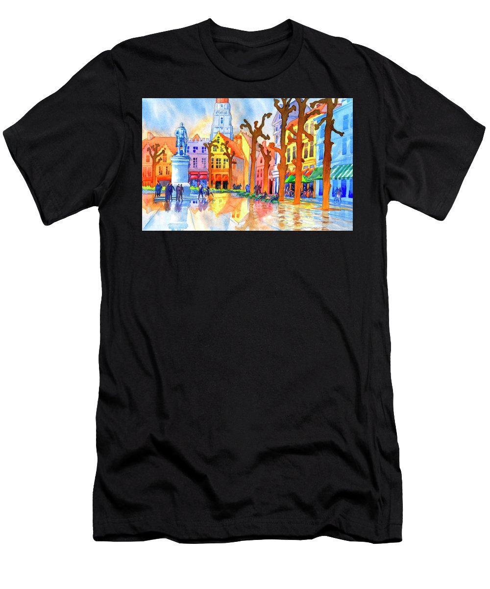 Watercolor T-Shirt featuring the painting Bruges No. 1 by Virgil Carter