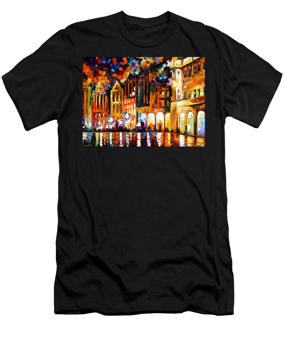 Afremov Men's T-Shirt (Athletic Fit) featuring the painting Brussels by Leonid Afremov