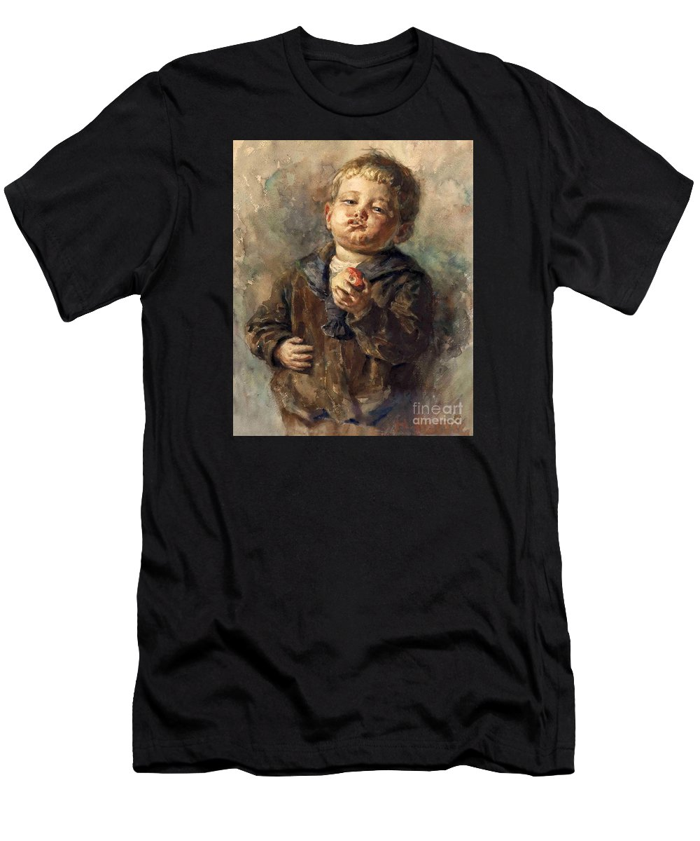 Rettig Men's T-Shirt (Athletic Fit) featuring the painting Bub Mit Apfel In Der Hand by MotionAge Designs