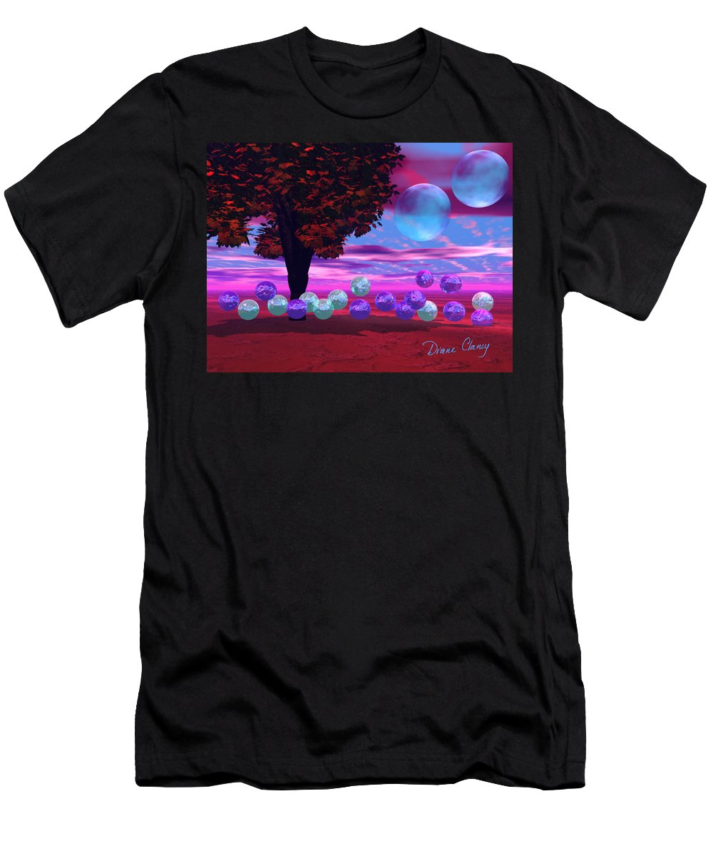 Red Men's T-Shirt (Athletic Fit) featuring the digital art Bubble Garden by Diane Clancy