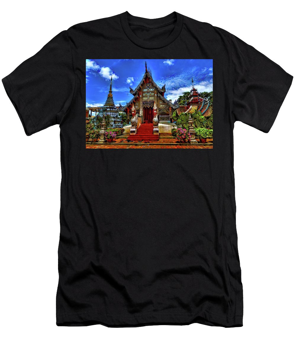 Abstract Men's T-Shirt (Athletic Fit) featuring the photograph Buddhist Temples In Chiang Mai by Robert Kinser