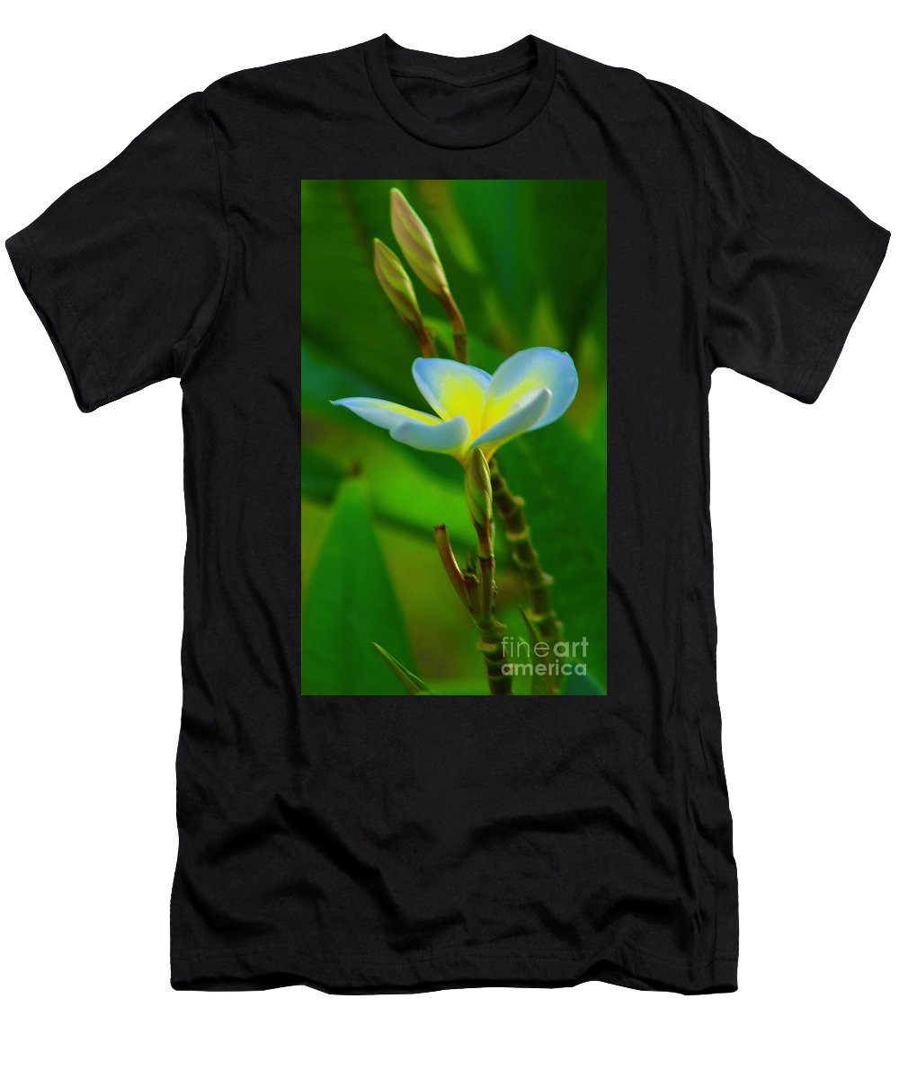 Plumeria Men's T-Shirt (Athletic Fit) featuring the photograph Buds And A Blossom by Craig Wood