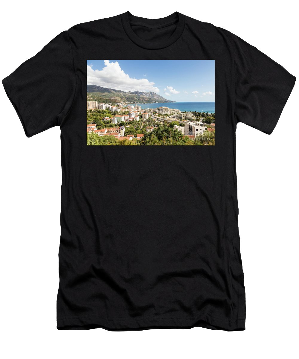 Balkans Men's T-Shirt (Athletic Fit) featuring the photograph Budva Along The Adriatic Sea In Montenegro by Didier Marti