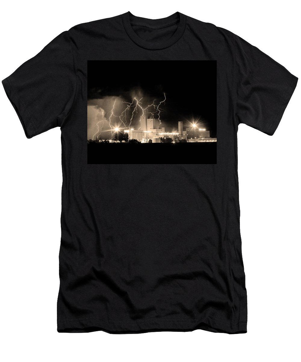 40d Men's T-Shirt (Athletic Fit) featuring the photograph Budweiser Lightning Thunderstorm Moving Out Bw Sepia Crop by James BO Insogna
