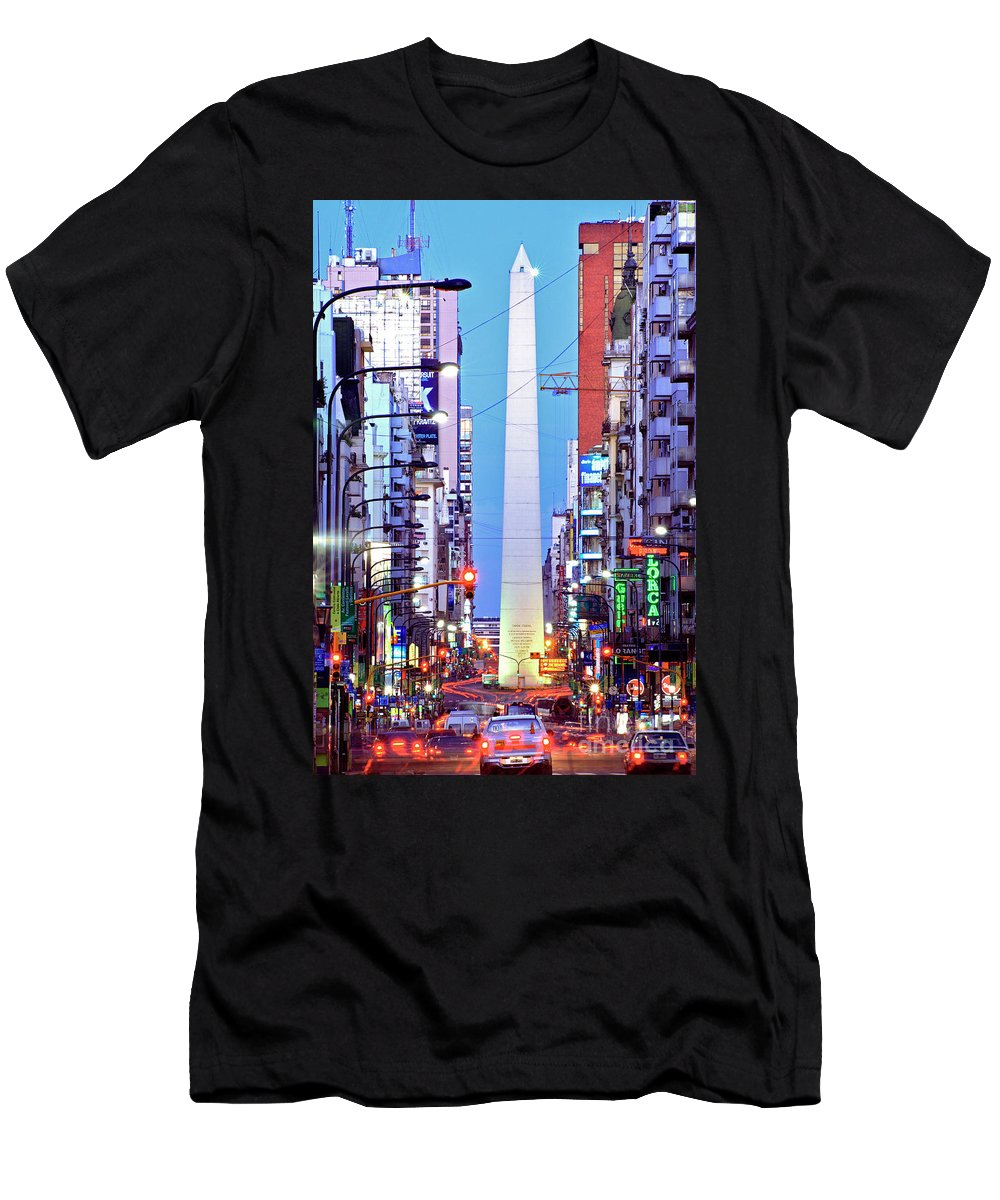 Obelisk Men's T-Shirt (Athletic Fit) featuring the photograph Buenos Aires Obelisk by Bernardo Galmarini