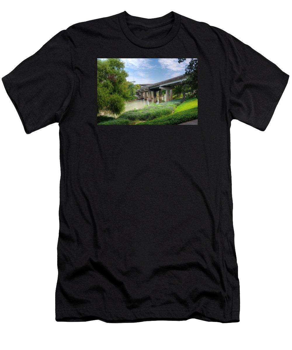 Buffalo Bayou Men's T-Shirt (Athletic Fit) featuring the photograph Buffalo Bayou Houston by Joan Baker